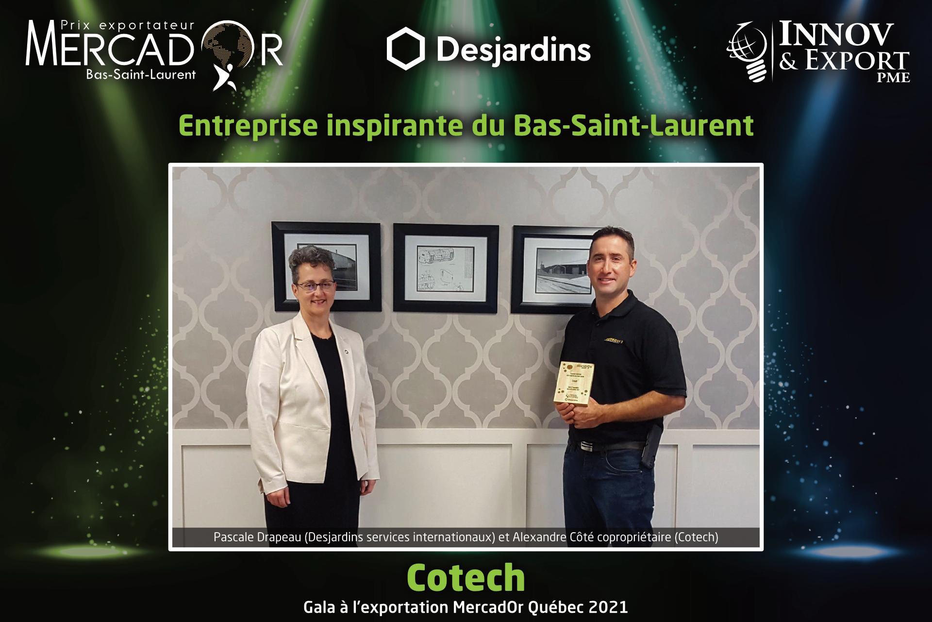 Cotech, entreprise inspirante du MercadOr Québec 2021 région du Bas-Saint-Laurent