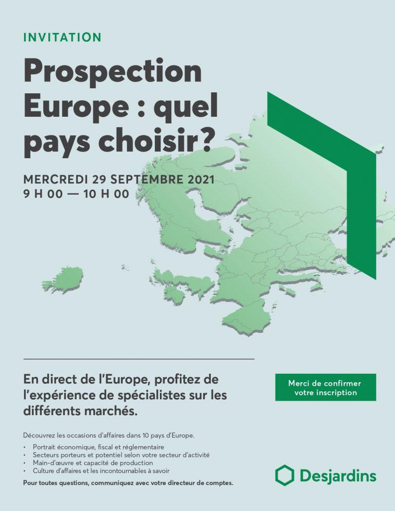Invitation prospection Europe de Desjardins