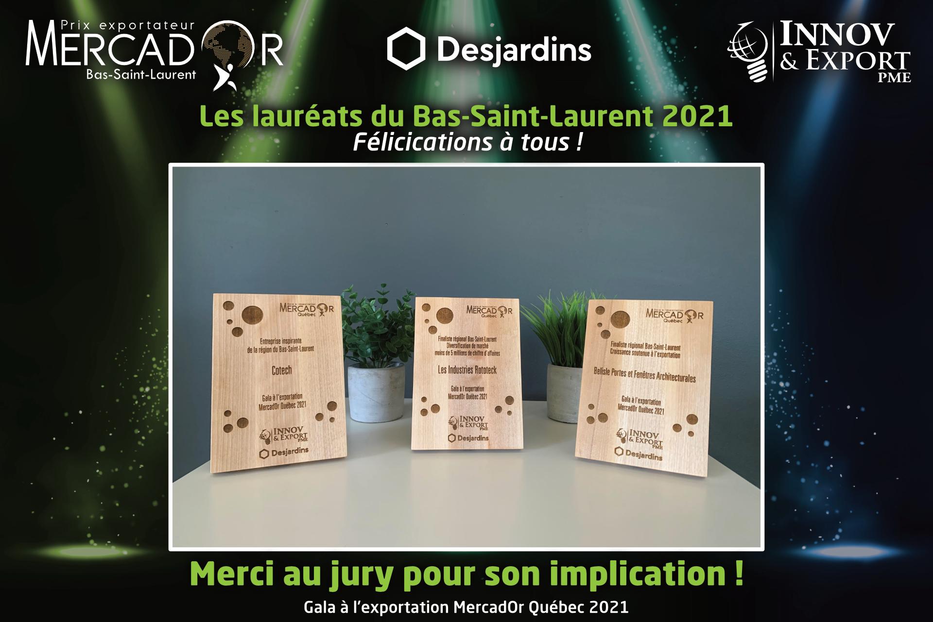 plaques des lauréats mercador québec 2021 pour la région du Bas-Saint-Laurent